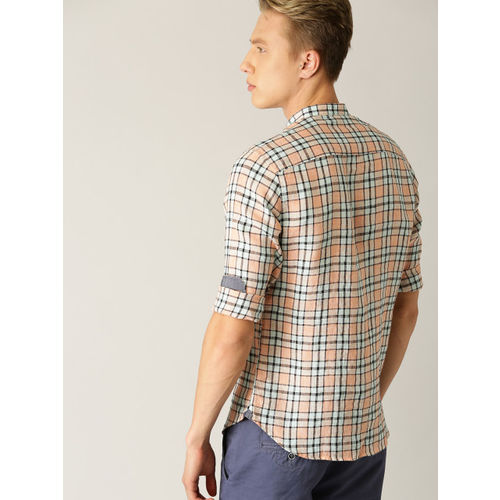 United Colors of Benetton Men Peach-Coloured & Blue Linen Slim Fit Checked Casual Shirt