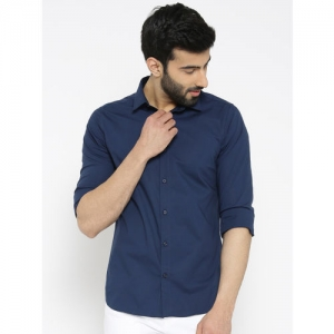 306f37b700 United Colors of Benetton Men Navy Blue Regular Fit Solid Casual Shirt