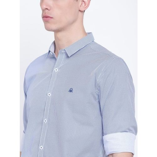 United Colors of Benetton Men Blue Slim Fit Printed Casual Shirt