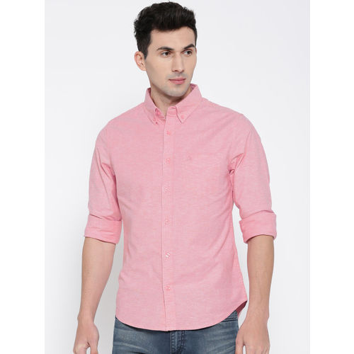 United Colors of Benetton Men Pink Solid Casual Shirt