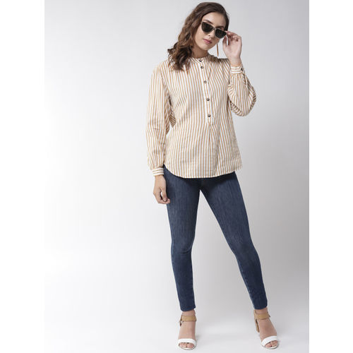 Marks & Spencer Women Brown & White Striped Shirt Style Top