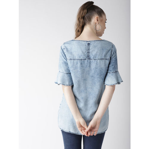 Marks & Spencer Women Blue Chambray Washed Top