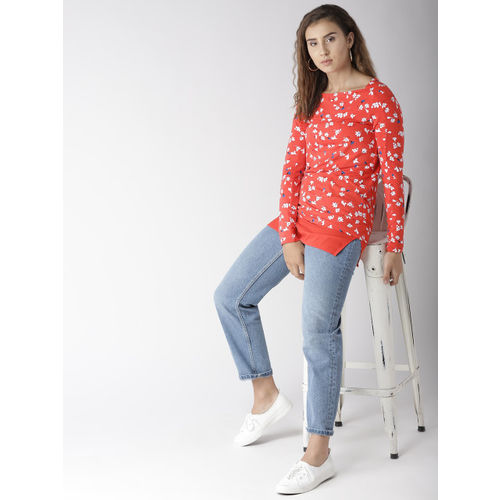 Marks & Spencer Women Coral Red Printed Longline Top
