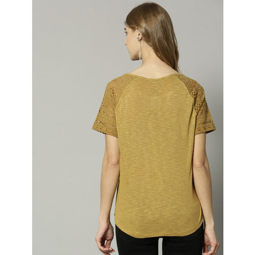 Marks & Spencer Women Mustard Brown Solid Top with lace Inserts Detail
