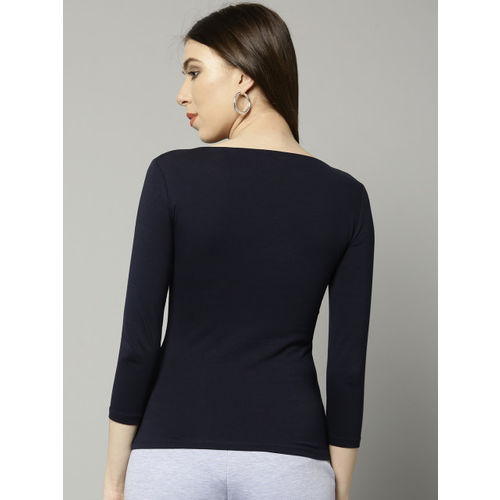 Marks & Spencer Women Navy Blue Solid Fitted Top