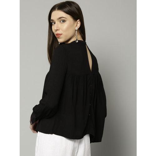 Marks & Spencer Women Black Solid Styled Back Top