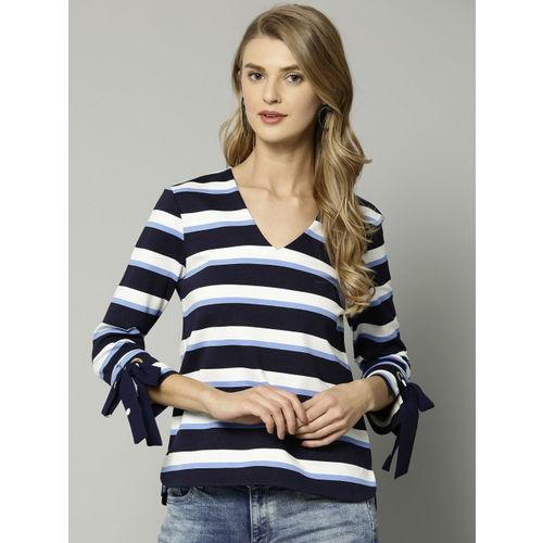 Marks & Spencer Women Navy Blue & White Striped Top