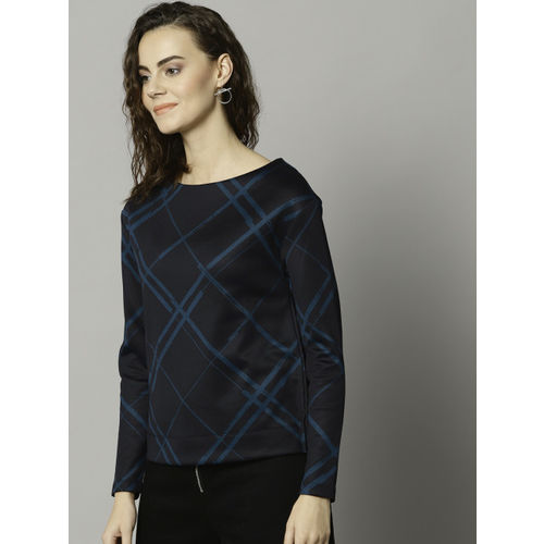 Marks & Spencer Women Navy Blue Checked Boxy Top