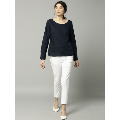 Marks & Spencer Women Navy Blue Solid Styled Back Top