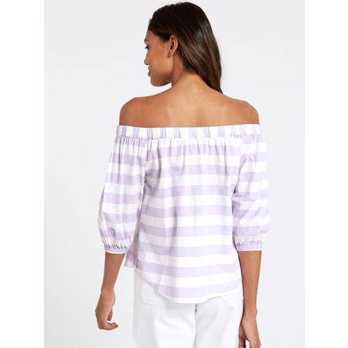 Marks & Spencer Women Lavender & White Striped Bardot Top