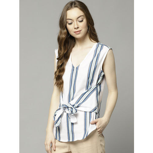 Marks & Spencer Women White & Blue Striped Top