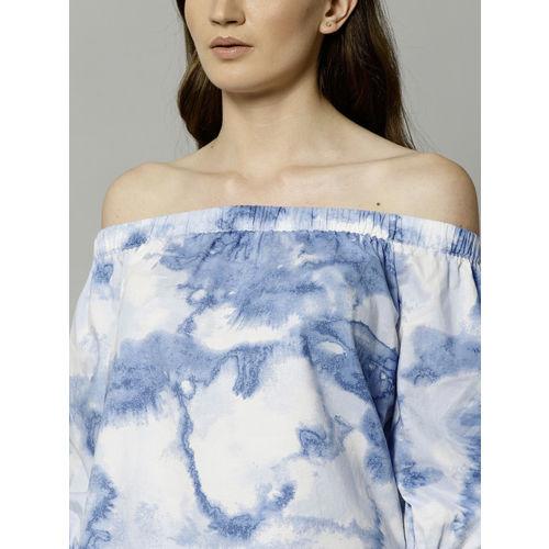 Marks & Spencer Women Blue Dyed Bardot Top