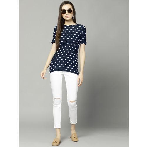 Marks & Spencer Women Navy & White Self-Design Top