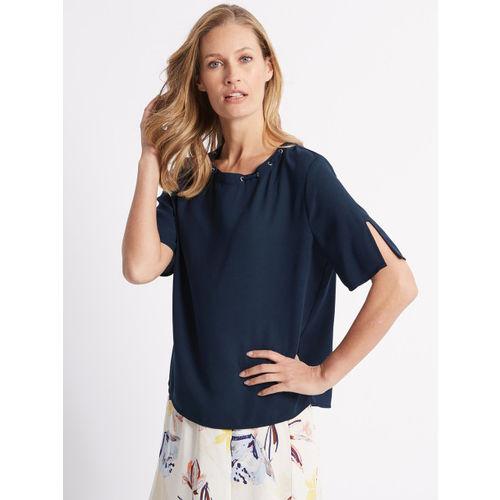 Marks & Spencer Women Navy Blue Solid Top
