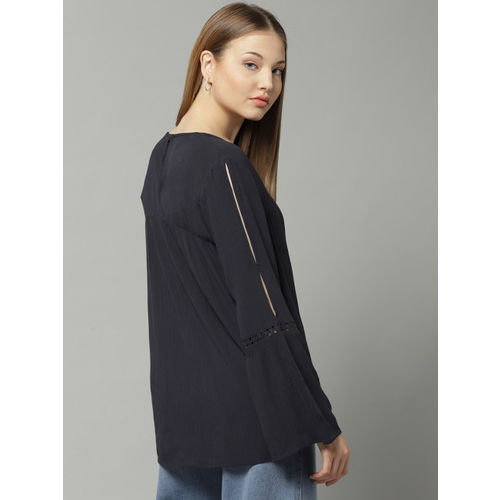 Marks & Spencer Women Navy Blue Solid A-Line Top