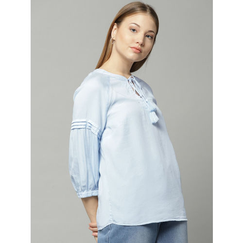 Marks & Spencer Women Blue Solid Top