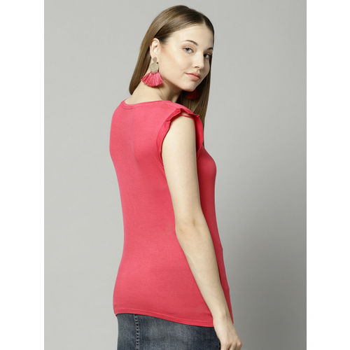 Marks & Spencer Women Coral Pink Solid Top