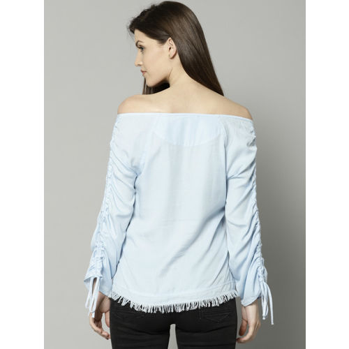 Marks & Spencer Women Blue Self Design Bardot Top