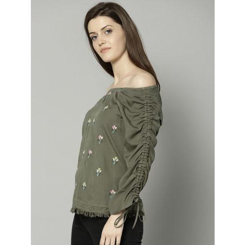 Marks & Spencer Women Olive Green Self Design Bardot Top