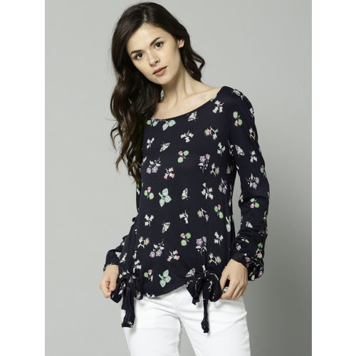 Marks & Spencer Women Navy Blue Printed Top