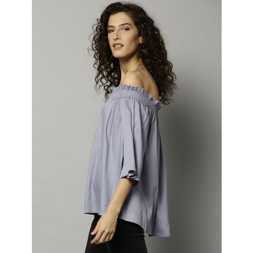 Marks & Spencer Women Blue Solid Bardot Top
