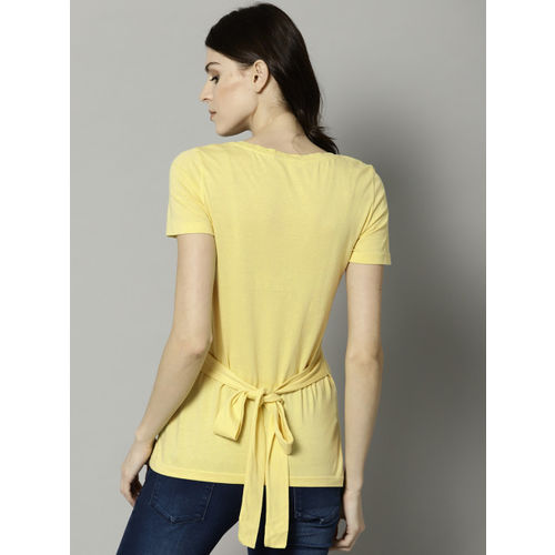 Marks & Spencer Women Yellow Solid Fitted Top