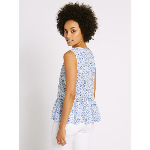 Marks & Spencer Women Blue & White Floral Print A-Line Top