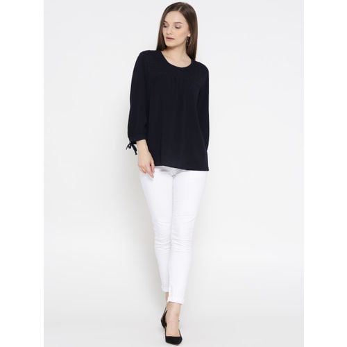 Marks & Spencer Women Navy Self-Design A-Line Top