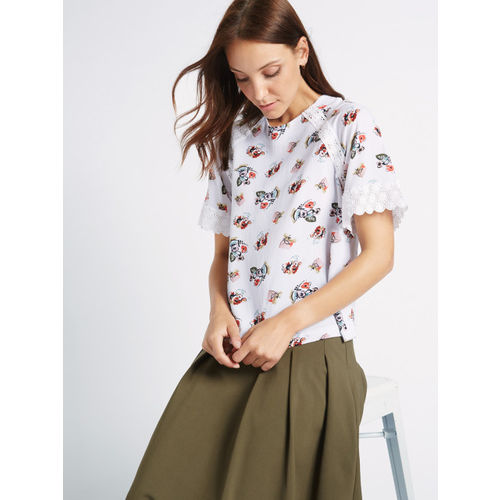 Marks & Spencer Women White Floral Print Top