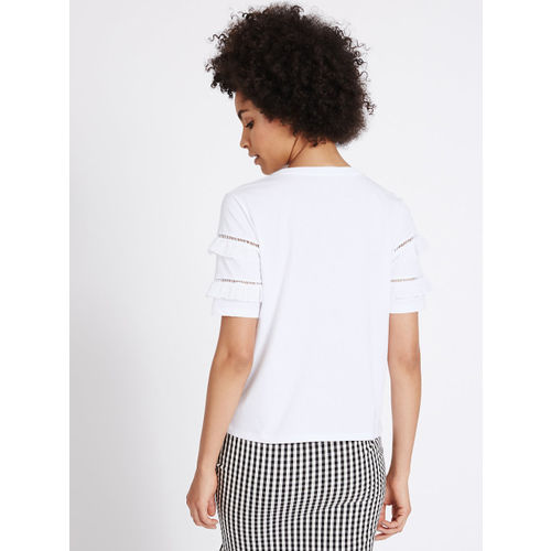 Marks & Spencer Women White Solid Top with Frills