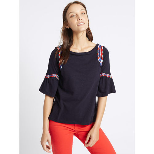 Marks & Spencer Women Navy Embroidered Styled Back Top