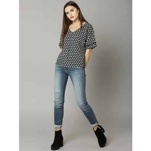 Marks & Spencer Women Black Printed Boxy Top