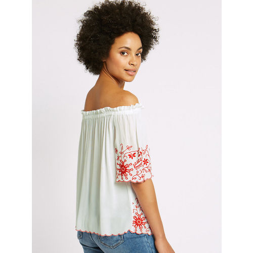 Marks & Spencer Women Off-White Embroidered Bardot Top