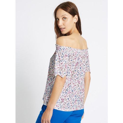 Marks & Spencer Women Off-White & Blue Printed Bardot Top