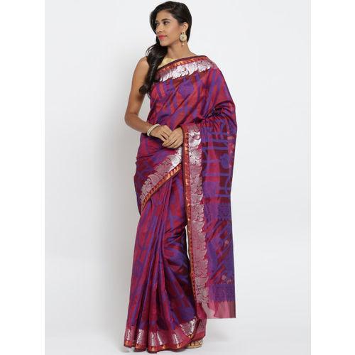 Bunkar Pink & Blue Patterned Banarasi Saree