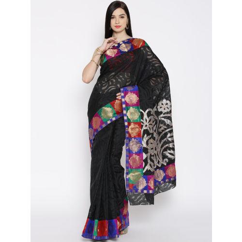 Bunkar Black Cotton Supernet Banarasi Saree