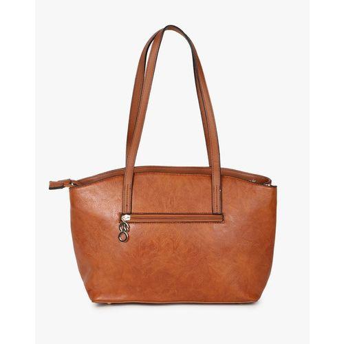 E2O Brown Polyurethane Textured Tote Bag