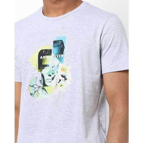 AJIO Slim Fit Graphic Print Crew-Neck T-shirt