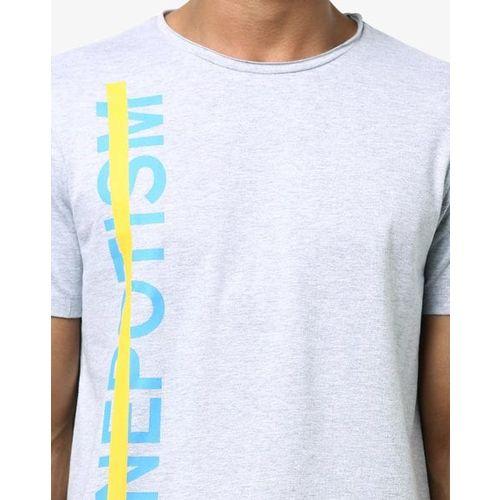 AJIO Typographic Print Crew-Neck T-shirt with Raw Edges