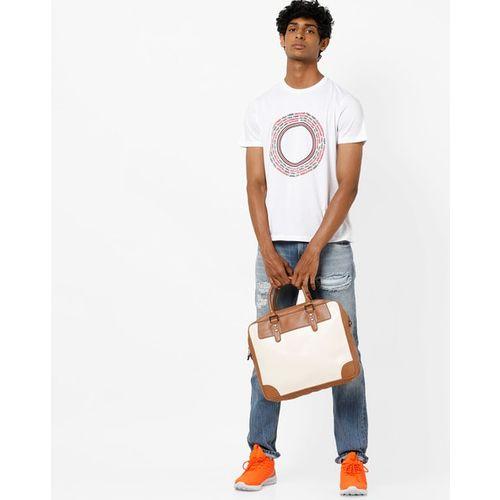 AJIO Slim Fit Typographic Print Crew-Neck T-shirt