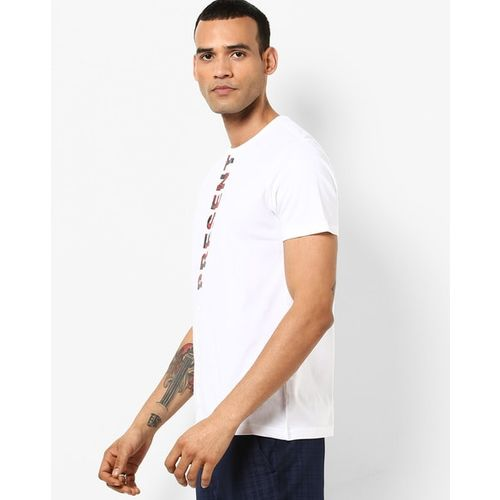 AJIO Slim Fit Crew-Neck T-shirt with Typographic Print