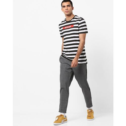 AJIO Slim Fit Striped Crew-Neck T-shirt