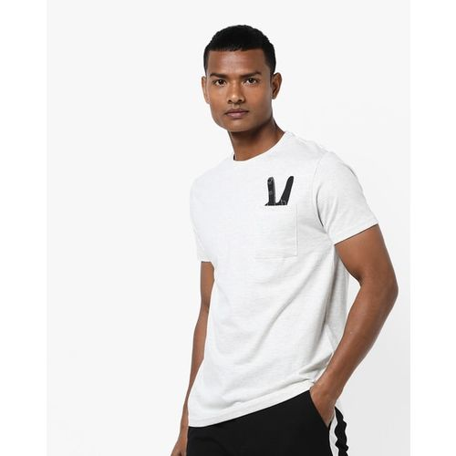 AJIO Crew-Neck Pocket T-shirt with Placement Print