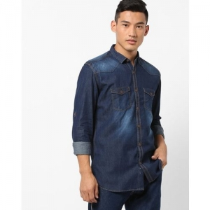 Nature Casuals Slim Fit Faded Chambray Shirt with Button-Flap Pockets