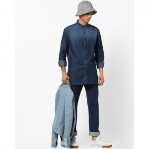 Nature Casuals Denim Slim Fit Shirt with Curved Hemline