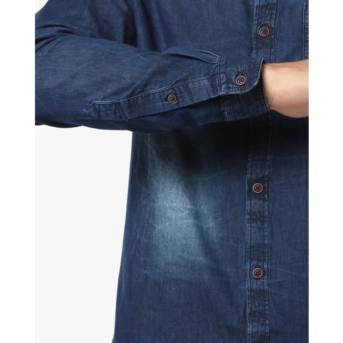 Nature Casuals Denim Slim Fit Shirt with Patch Pocket