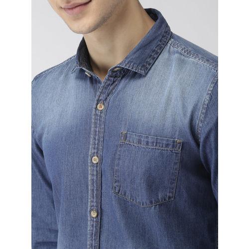 Mast & Harbour Men Blue Slim Fit Faded Denim Casual Shirt