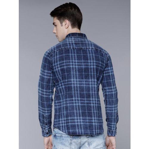 LOCOMOTIVE Men Blue Slim Fit Checked Casual Shirt