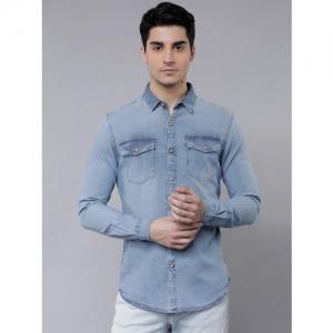 LOCOMOTIVE Men Blue Slim Fit Faded Casual Shirt