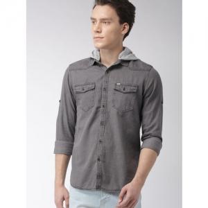 LOCOMOTIVE Men Grey Slim Fit Solid Hooded Casual Shirt